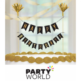 Cake Topper Happy Birthday Gold Banner