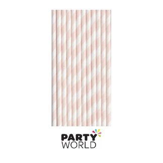 Soft Pink Striped Paper Straws (25)