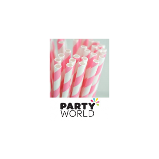 Hot Pink Striped Paper Straws (25)