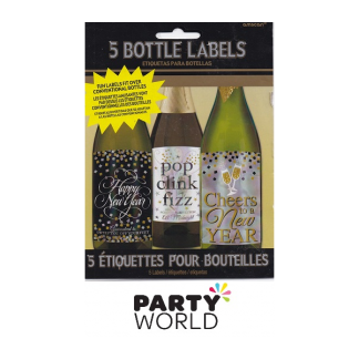New Year Bottle Labels Self Adhesive Assorted (5)