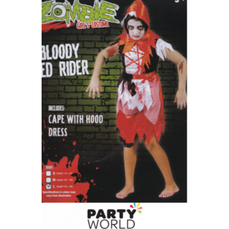 Zombie Bloody Red Rider Girl's Costume (130-140cm)