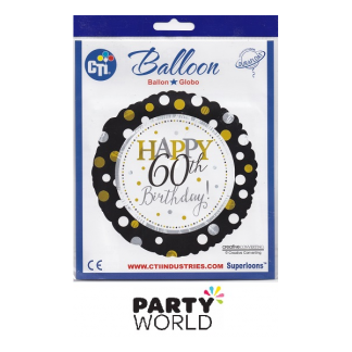 Happy 60th Birthday Foil Balloon - Black/Gold Dots