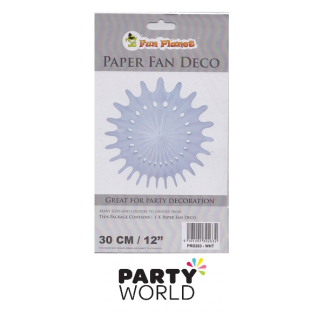 White Paper Fan Deco - 30cm