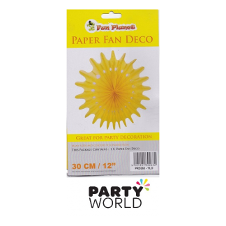Yellow Paper Fan Deco - 30cm
