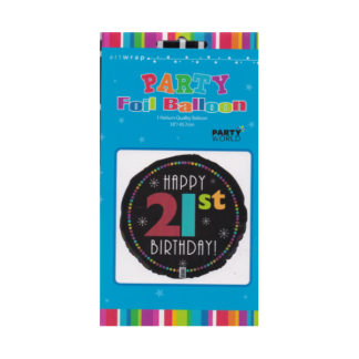 21st Party Foil Balloon Black