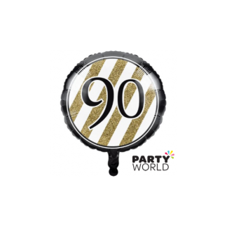 Black & Gold Stripes 90th Foil Balloon