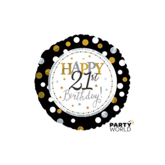 21st Birthday Black/Gold Dots Foil Balloon