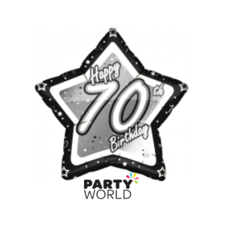 Birthday Star 70th Foil Balloon Black
