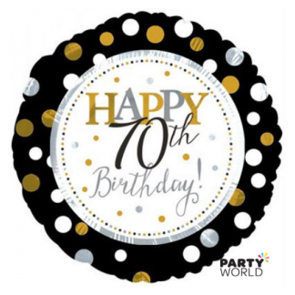 Black & Gold Dots 70th Birthday Foil Balloon