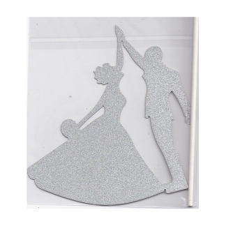 Silver Glitter Wedding Cake Decoration (Paper)