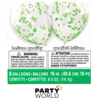 Green Shamrocks Large Confetti Balloons 40cm (5)