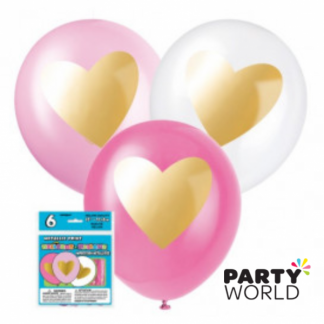 Gold Heart Assorted Balloons 12in (6)