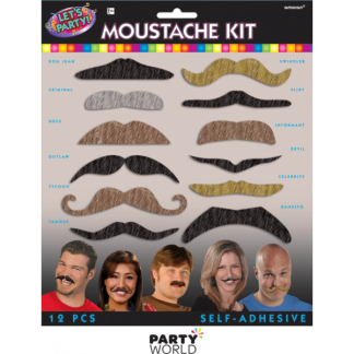 Assorted Moustache Kit (12)