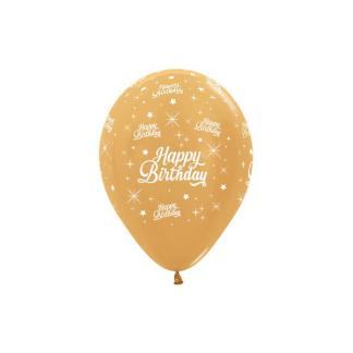 Sempertex Happy Birthday Pearl Gold Latex Balloons (6)