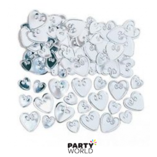 Silver Embossed Love Hearts Metallic Confetti 14g