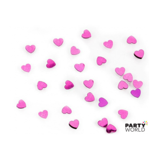 Hot Pink Sparkle Heart Metallic Confetti 14g