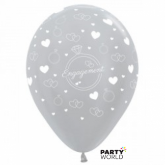 Satin Pearl Silver Engagement Latex Balloons(6)