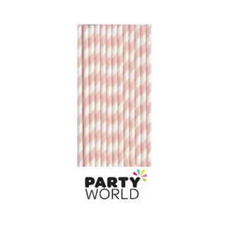 Pink and White Stripe Paper Straws (25)