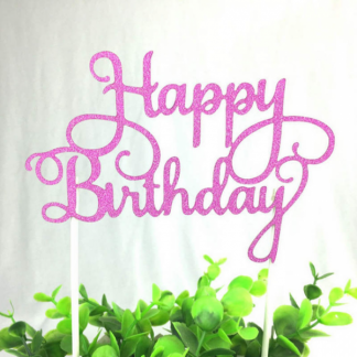 Hot Pink Glitter Happy Birthday Cake Topper