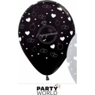 Metallic Pearl Black Engagement Latex Balloons (6)