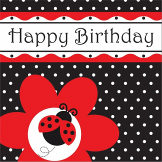 Ladybug Fancy Happy Birthday Luncheon Napkins (16)