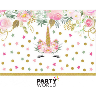 Floral Unicorn Fabric Backdrop 90 x 150 cm