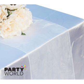 White Organza Table Runner / Chair Tie (27 x 300 cm)