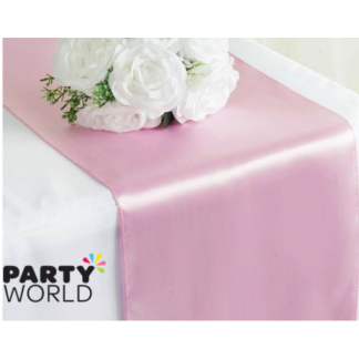 Light Pink Satin Table Runner 30 x 275 cm