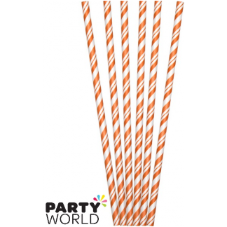 Premium Paper Straws - Orange / White Stripe (24) Bar and Hotel quality