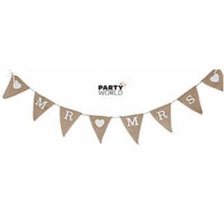 Mr & Mrs Hessian Bunting With Bow On Side