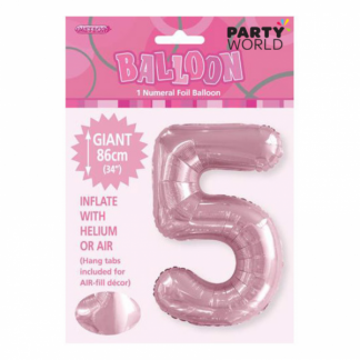 Giant Lovely Pink Foil Number Balloon - 5
