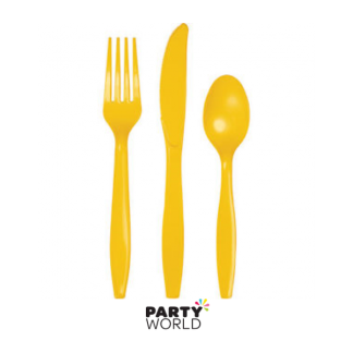 School Bus Yellow Plastic Cutlery (24)