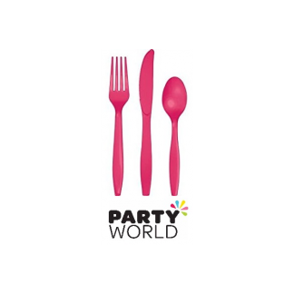 Plastic Cutlery Set - Hot Magenta (24)