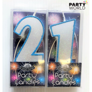 21st Glittering Birthday Candles - Blue