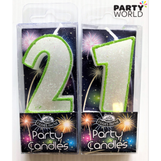 21st Glittering Birthday Candles - Green