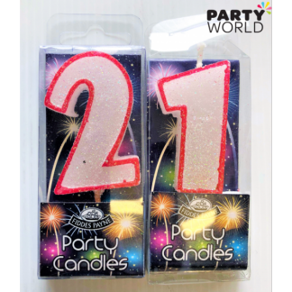 21st Glittering Birthday Candles - Red