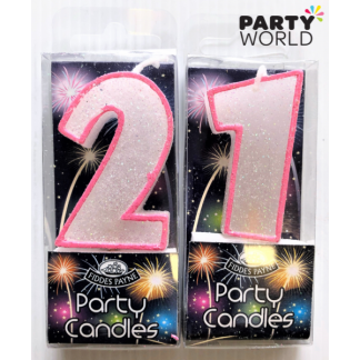 21st Glittering Birthday Candles - Pink