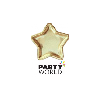 Party Plates - Foil Star Gold (8)