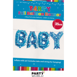 Baby Blue Foil Balloon With Stars