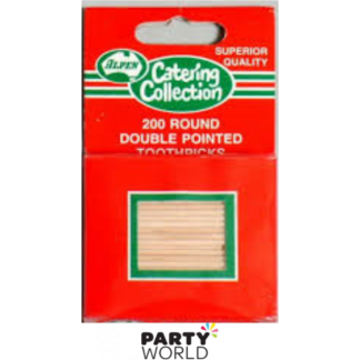 Wooden Toothpicks Double Pointed Round (200)