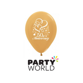 50th Anniversary Metallic Gold Latex Balloons (6)