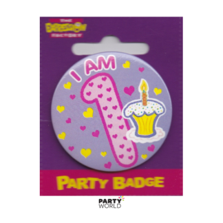 "Birthday Girl Badge Pink "" I'm 1"""