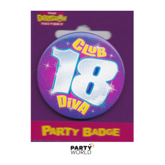 "Birthday Badge 18th ""Club Diva"""