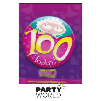 "100th Birthday Pink Badge ""Today"""