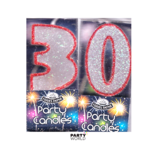 30th Glittering Birthday Candles - Red