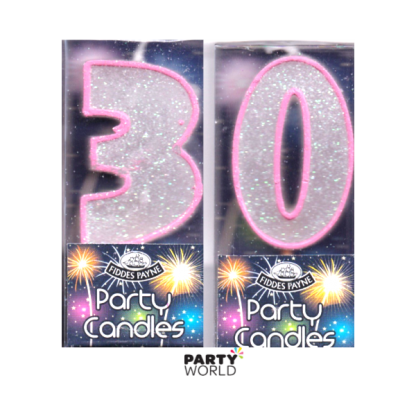 30th Glittering Birthday Candles - Pink