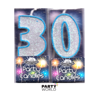 30th Glittering Birthday Candles - Blue