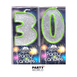 30th Glittering Birthday Candles - Green