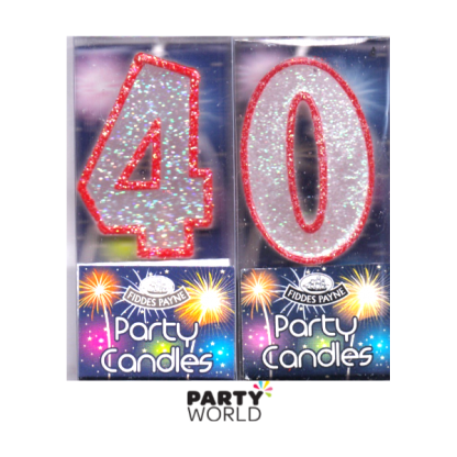 40th Glittering Birthday Candles - Red