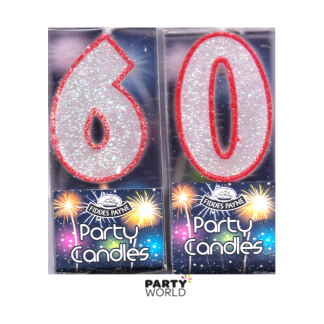 60th Glittering Birthday Candles - Red